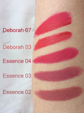 lipsticks swatches essence deborah
